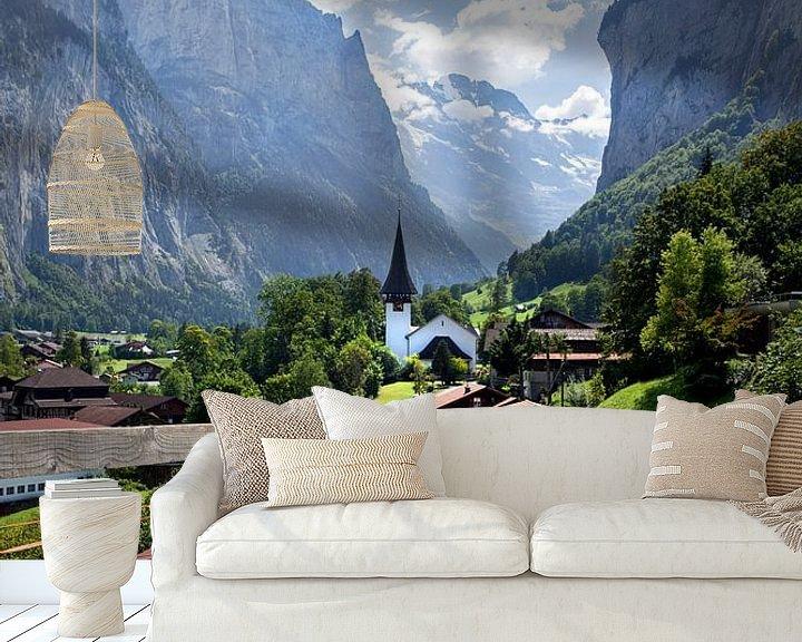 Sfeerimpressie behang: Lauterbrunnen, Zwitserland van Fotografie Egmond