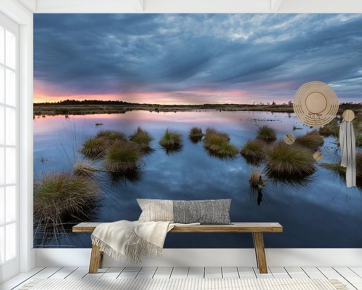 Sfeerimpressie behang: Swamp Sunset van Rob Christiaans