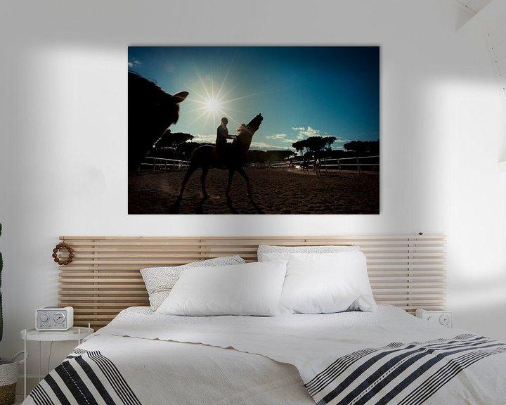 Sfeerimpressie: Paard en ruiter bij zonsondergang van Tycho Müller