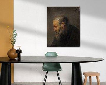 Studi eines alten Mannes im Profil, Rembrandt van Rijn