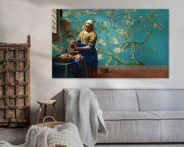 Milchmädchen von Vermeer mit Mandelblütentapete von Van Gogh von Lia Morcus
