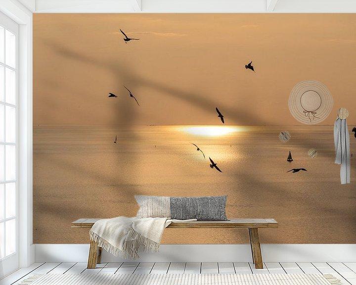 Impression: Ondergaande zon met meeuwen op de voorgrond sur Gertjan koster