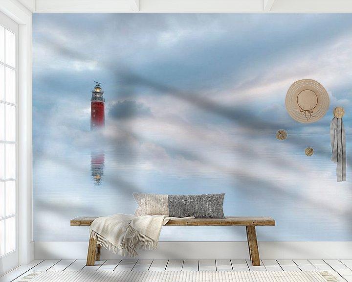 Beispiel fototapete: Leuchtturm in den Wolken von Lia Hulsbeek Brinkman