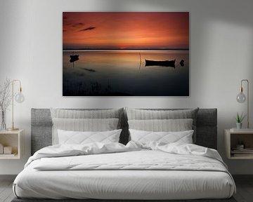 Zonsondergang bij het meer van Marcel van der Voet