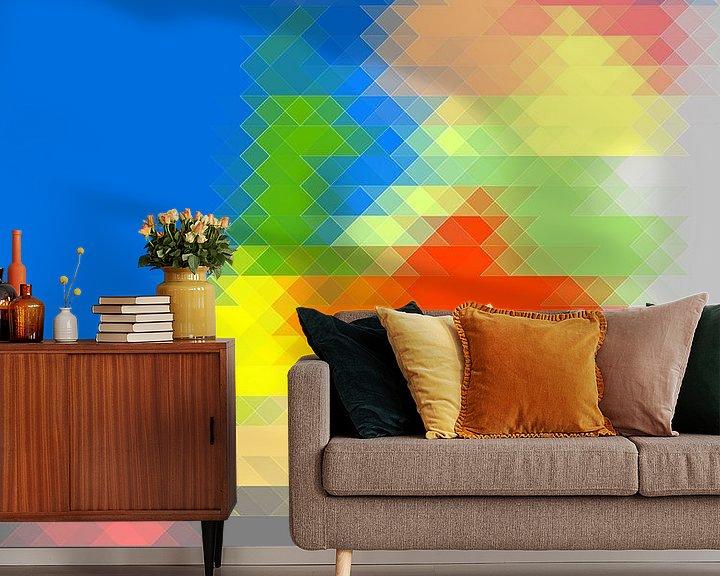 Sfeerimpressie behang: Driehoekskaart van Nederland - horizontaal van Frans Blok