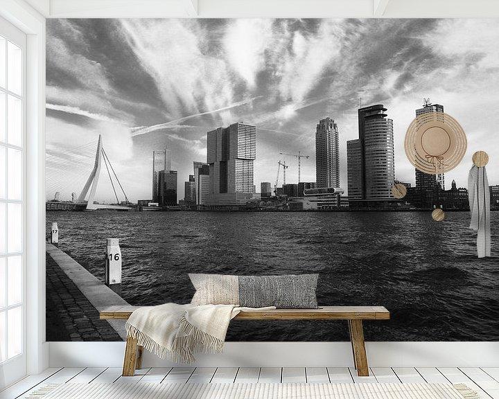 Sfeerimpressie behang: (Sky)Line Kop van Zuid - Rotterdam van Richard Kortland