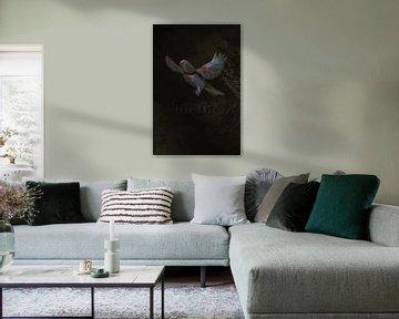 Zeichnung des Vogels auf dunklem Hintergrund von Mike Maes