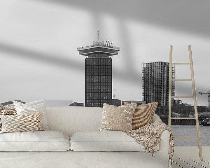 Sfeerimpressie behang: Amsterdam Noord panorama van Roger VDB