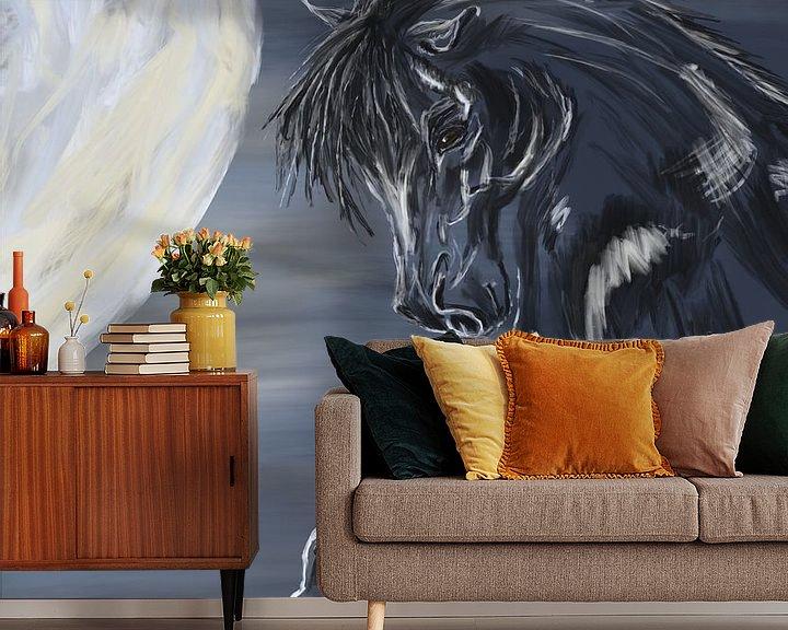 Beispiel fototapete: Paard en maan von Monique Schilder