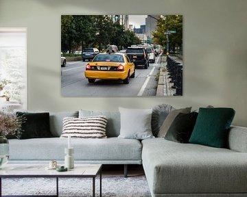 Yellow Cab in de file van Bas de Glopper