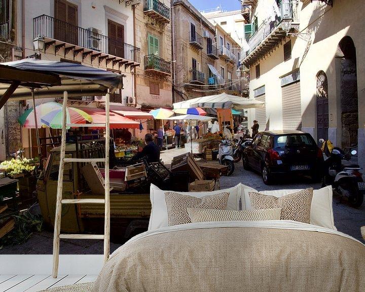 Beispiel fototapete: Mercato del Capo, Via Porta Carini, Palermo von Sven Zoeteman