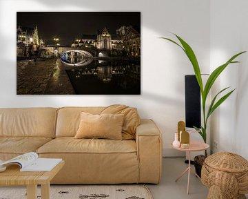 Gents kanaal bij nacht van Niki Moens