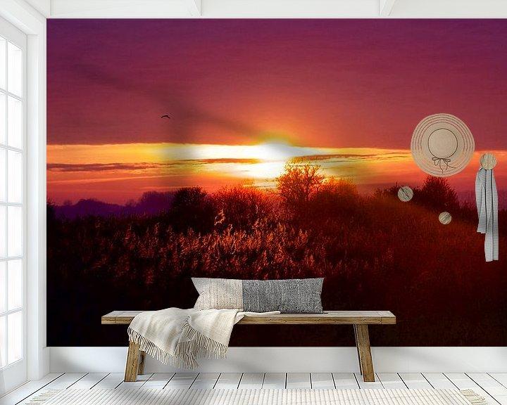 Sfeerimpressie behang: Zonsondergang op de Beningerslikken van Sven Zoeteman