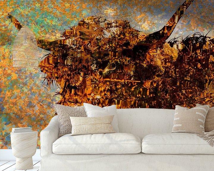 Sfeerimpressie behang: Schotse hooglander in kleur van Frans Van der Kuil