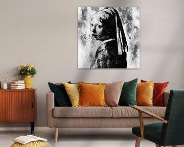 Mädchen mit der Perle - Black and white von PictureWork - Digital artist