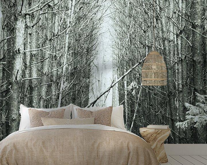 Sfeerimpressie behang: Bospad. van Karel Pops