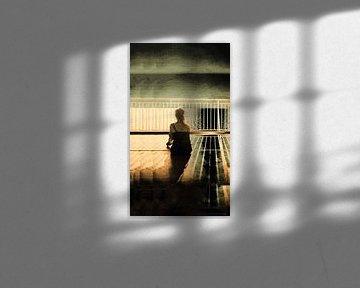 Frau am Sonnendeck bei Sonnenuntergang von Mieneke Andeweg-van Rijn