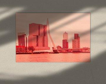 Rotterdam - Erasmusbrug en omgeving - in rode tinten sur Ineke Duijzer