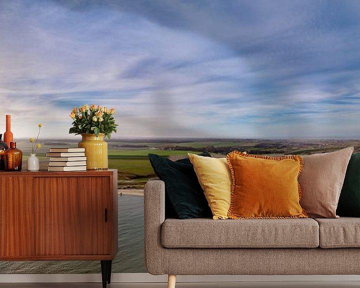 Sfeerimpressie behang: Steiger van Sil en vuurtoren Texel Zonsondergang van Texel360Fotografie Richard Heerschap