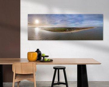 Steiger van Sil en vuurtoren Texel Zonsondergang van Texel360Fotografie Richard Heerschap
