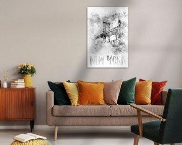Monochrome Kunst NYC Manhattan Bridge | Aquarell von Melanie Viola