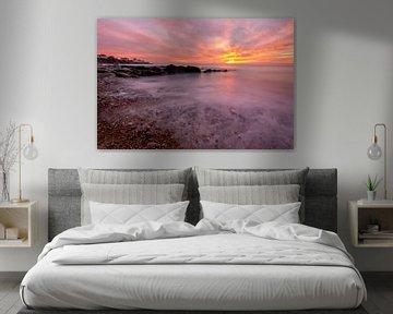 Incroyable coucher de soleil coloré sur la plage d'Audresselles - Côte d'Opale - France