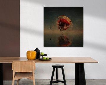 Paysage de rêve –  Scène de pays de rêve avec arbre rouge et pleine lune