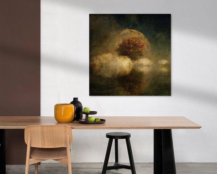 Sfeerimpressie: Droomlandschap – Volle maan met een Amerikaanse beuk in de mist van Jan Keteleer