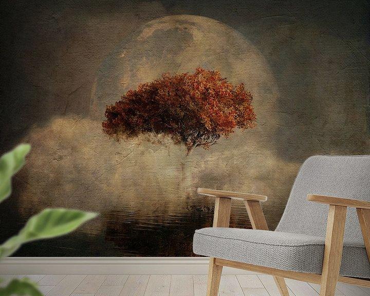 Sfeerimpressie behang: Droomlandschap – Landschap vanuit je dromen met een volle maan en de zeee van Jan Keteleer