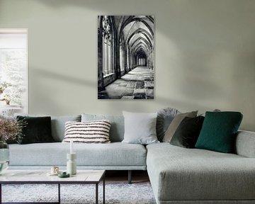 In de kloostergangen van de Pandhof van de Domkerk in Utrecht. (Utrecht2019@40mm nr 7)