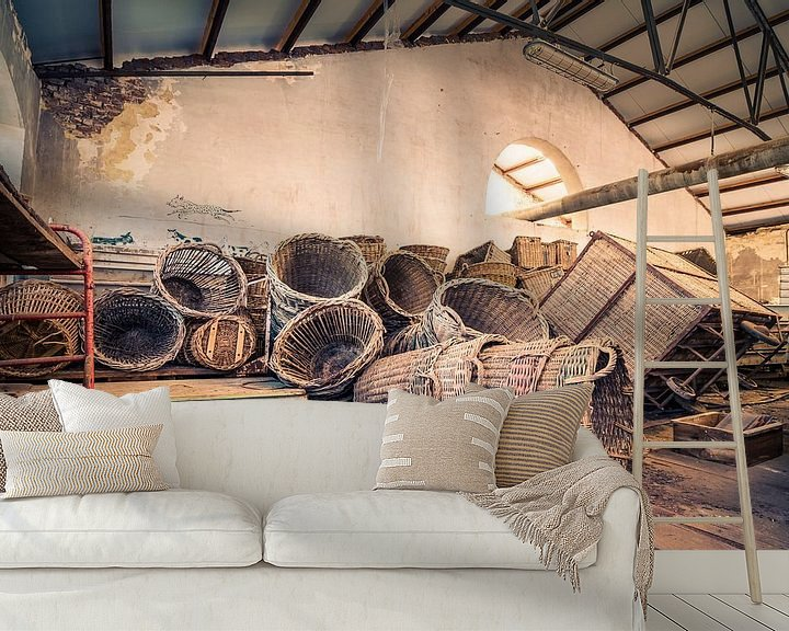 Sfeerimpressie behang: Allemaal mandjes van Truus Nijland