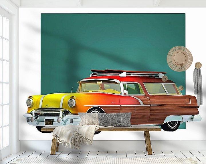 Sfeerimpressie behang: Klassieke auto – Oldtimer Pontiac Safari Surfer edition van Jan Keteleer