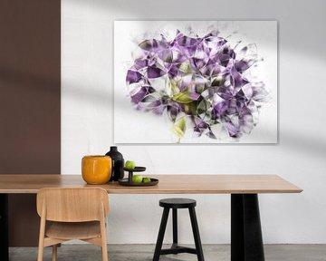 abstracte paarse uienbol ( pastel ) van Marjolijn van den Berg