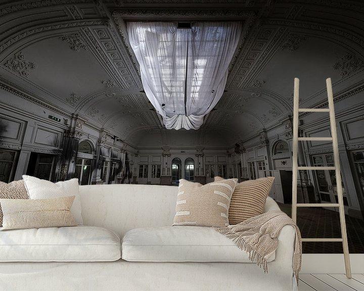 Beispiel fototapete: Große Halle in einem verlassenen Hotel von Inge van den Brande