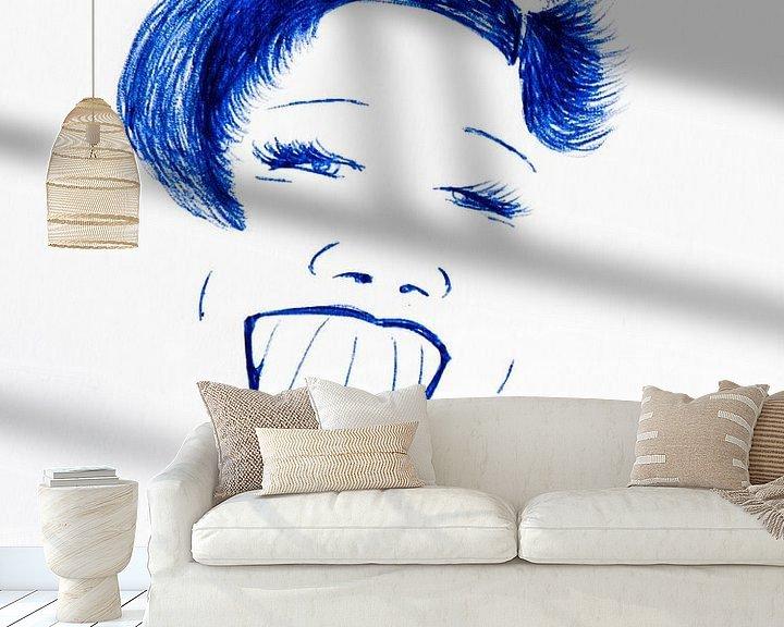 Beispiel fototapete: Zeichnung Lächelnden Frau von Henriëtte Mosselman