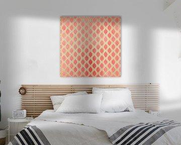 Goud - Living Coral Pattern I van Art Design Works