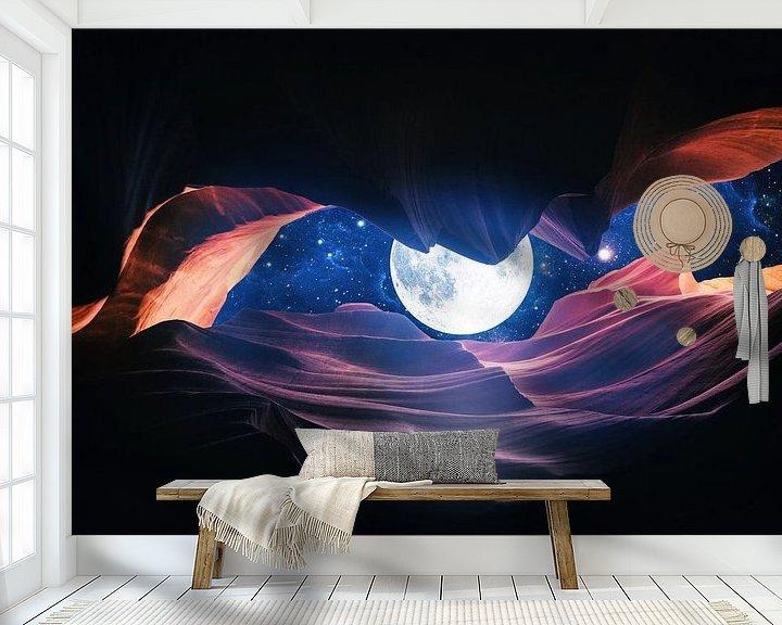 Sfeerimpressie behang: Grand Canyon met Space & Full Moon Collage I van Art Design Works