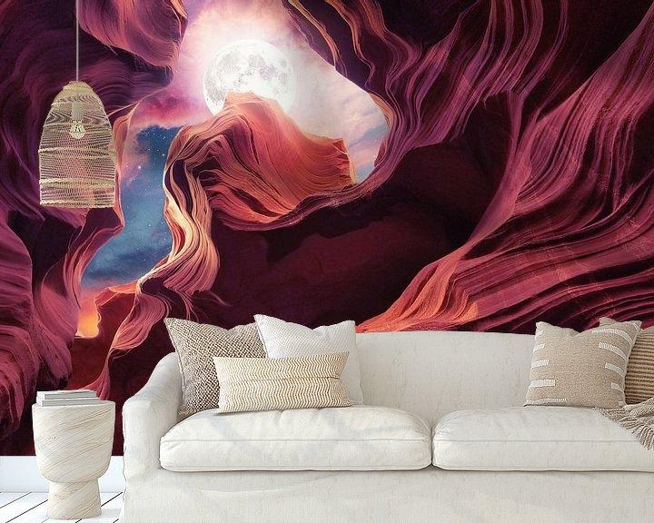 Sfeerimpressie behang: Grand Canyon met Space & Full Moon Collage II van Art Design Works