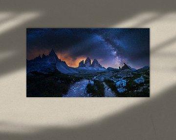 Drei Zinnen bei Nacht van Severin Pomsel