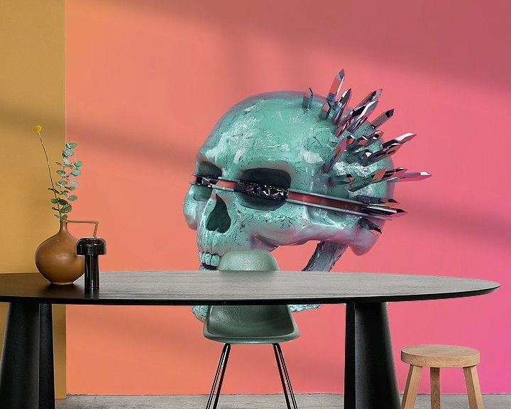 Beispiel fototapete: Colorful chrome skull von Klaudia Kogut