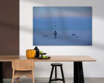 Euromast en  Havenkranen boven de Mist. van Marcel van Duinen