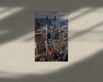 Downtown Chicago Sunset van Joram Janssen