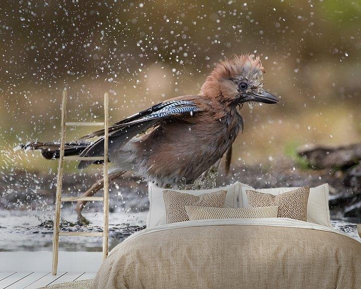 Sfeerimpressie behang: Gaai die tijdens de warme zomerdag een bad neemt en daar al spetterend uit rent van Jan Jongejan
