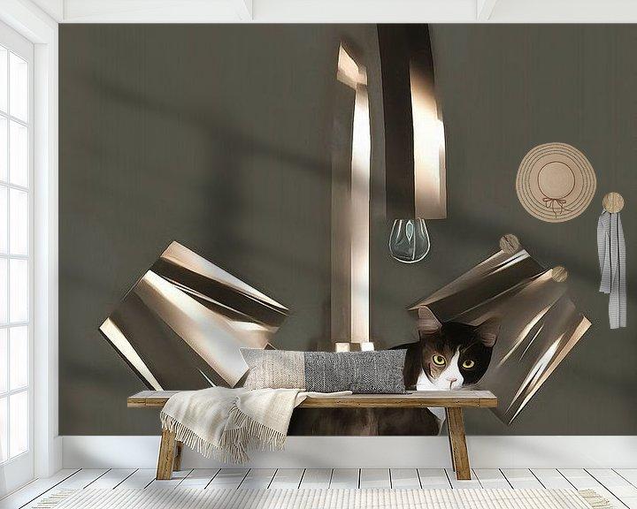 Sfeerimpressie behang: Katten: Loodgieter van Jan Keteleer