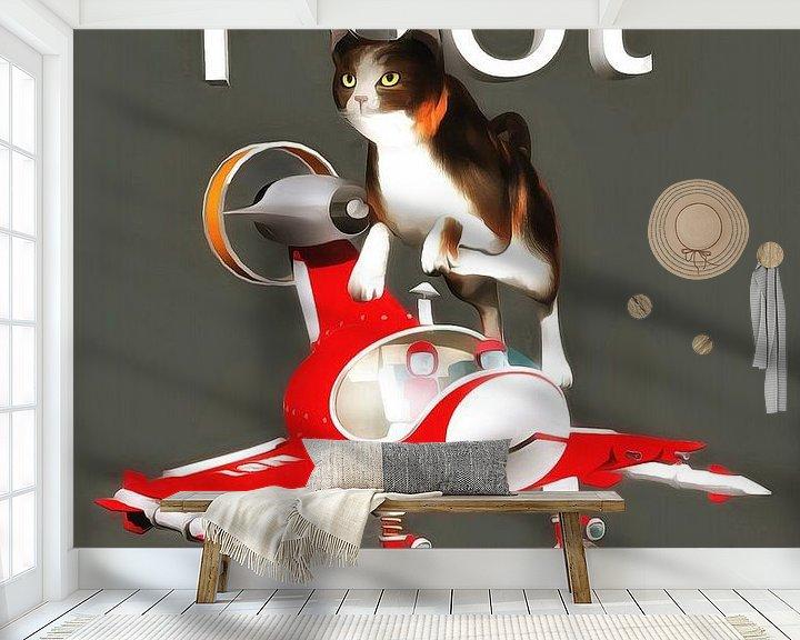 Sfeerimpressie behang: Katten: piloot van Jan Keteleer