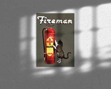Katzen: Feuerwehrmann