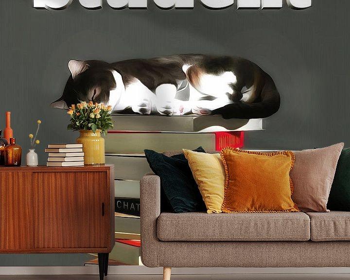 Sfeerimpressie behang: Katten: Kat student van Jan Keteleer