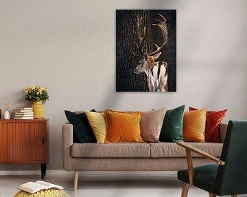 Ein Hirsch steht zwischen zwei Bäumen