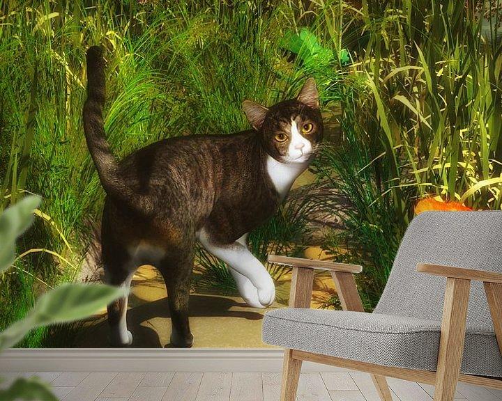 Sfeerimpressie behang: Katten – Een kat draait zich om van Jan Keteleer