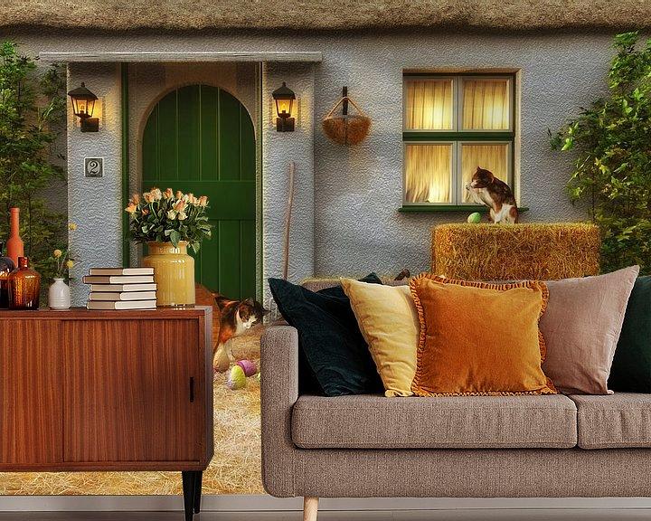 Sfeerimpressie behang: Katten – Kittens ontdekken Pasen van Jan Keteleer